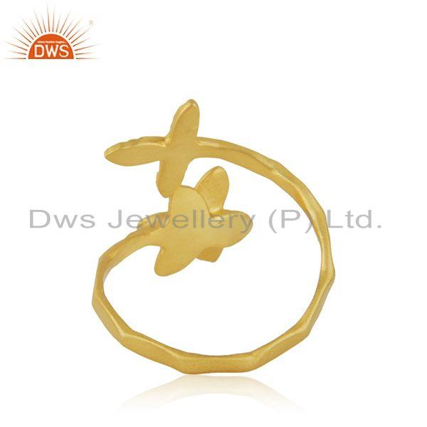 Wholesalers Handmade Leaf Floral Gold Plated Brass Fashion Ring Jewelry Supplier