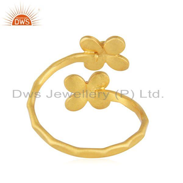 Wholesalers Floral Yellow Gold Plated Designer Brass Fashion Ring Jewelry