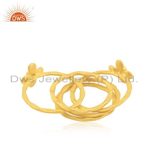 Wholesalers Manufacturer Gold Plated Designer Brass Fashion 5 Ring Set Jewelry