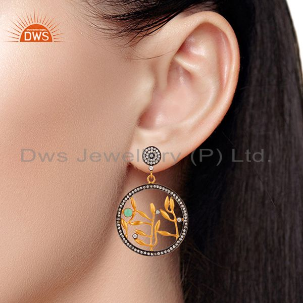 Wholesalers Handmade Pave Zircon 18 k Yellow Gold Plated Fashion Dangle Earrings