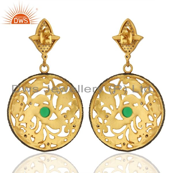 Wholesalers 24K Yellow Gold Plated Green Tourmaline And CZ Leaf Design Dangle Earrings