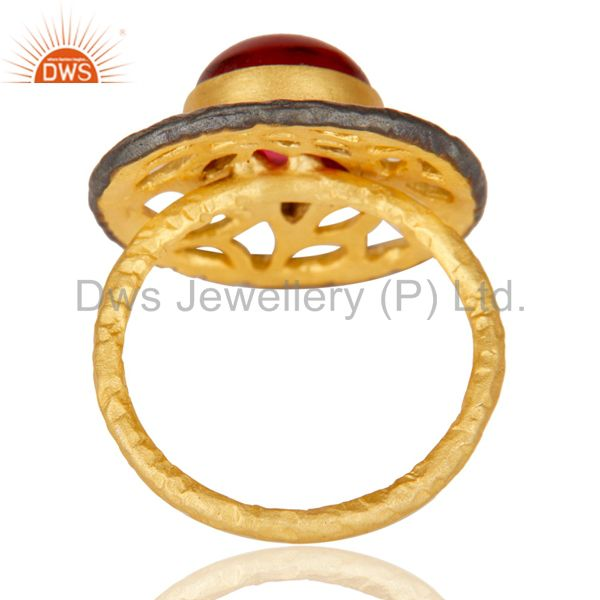 Wholesalers 14K Yellow Gold Plated Handmade Wide Round Glass Pink Cocktail Brass Ring