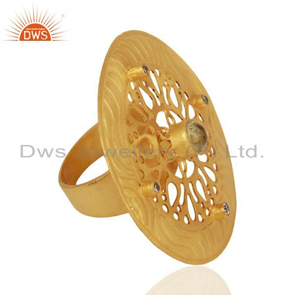 Wholesalers Lemon Topaz And CZ 24K Yellow Gold Plated Brass Filigree Cocktail Fashion Ring