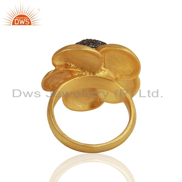 Wholesalers 22K Yellow Gold Plated Brass Cubic Zirconia Designer Cocktail Ring