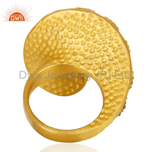 Wholesalers 22K Yellow Gold Plated Brass Cubic Zirconia Designer Fashion Ring