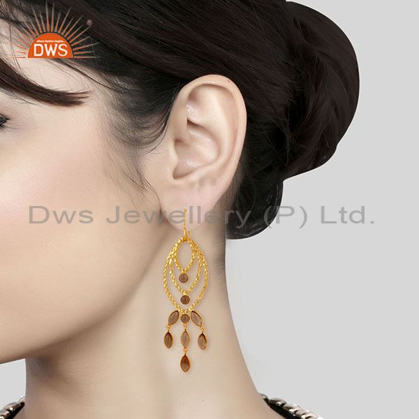 Wholesalers Traditional Handmade 14K Gold Plated Smokey Topaz Chandelier Brass Earrings