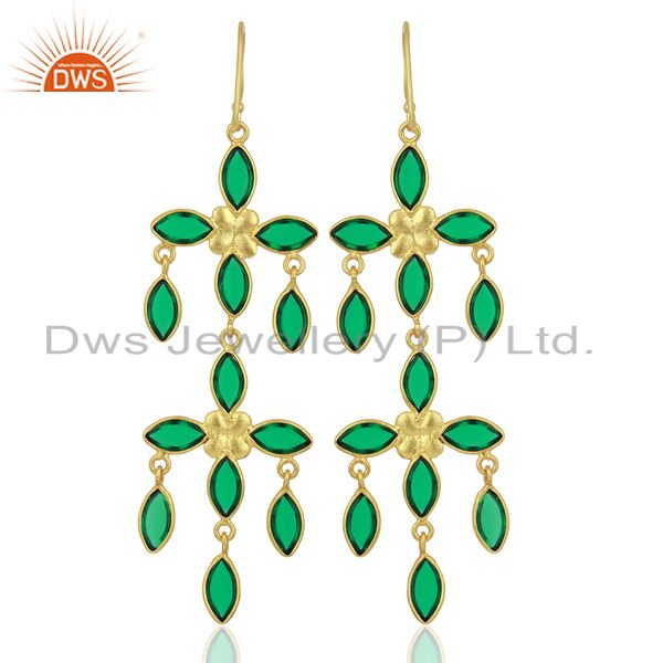 Wholesalers Green Stone Handmade Long Dangle 14K Gold Plated Fashion Earring