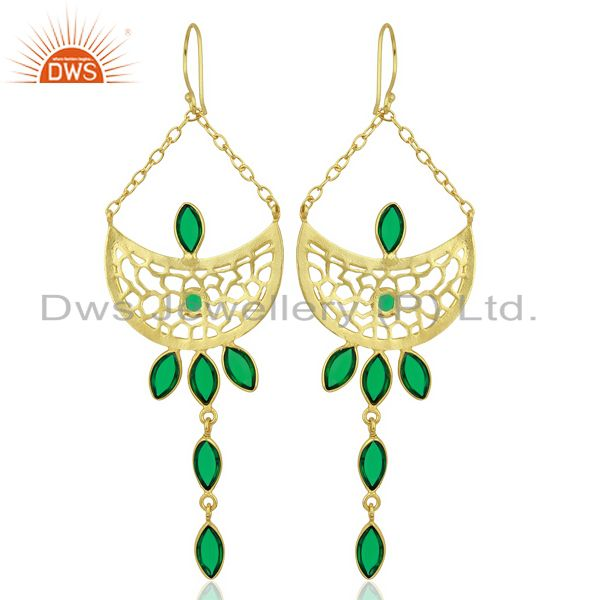 Wholesalers Green Stone Long Filigreen 14K Gold Plated Fashion Earring