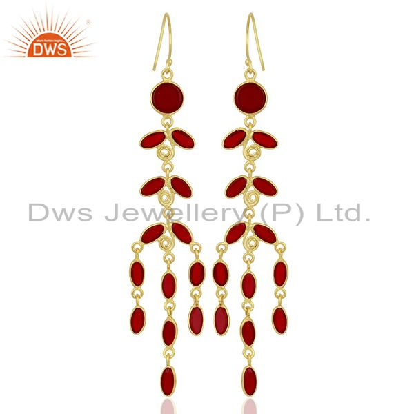 Wholesalers Red Hydro Long Leaf Pattern Gold Plated Fashion Wholesale Jewelry
