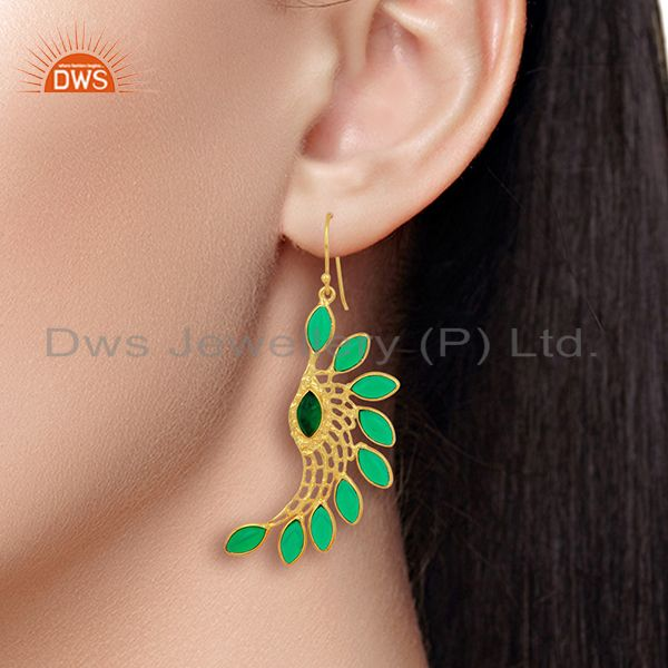 Wholesalers Green Hydro Wings Filigreen Fashion Wholesale Fashion 14K  Gold Plated Earring