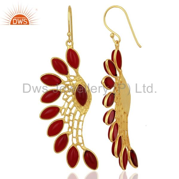 Wholesalers Red Hydro Wing Earring 14K Gold Plated Brass Fashion Jewelry