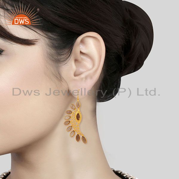 Wholesalers 14K Gold Plated Traditional Handmade Smokey Topaz Bezel Set Dangle Brass Earring
