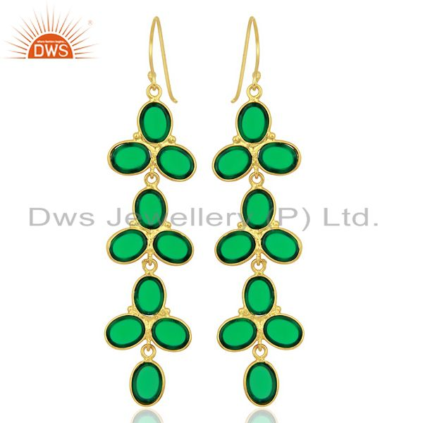 Wholesalers Green Hydro flower Pattern Bezel 14K Gold Plated Fashion Wholesale Jewelry