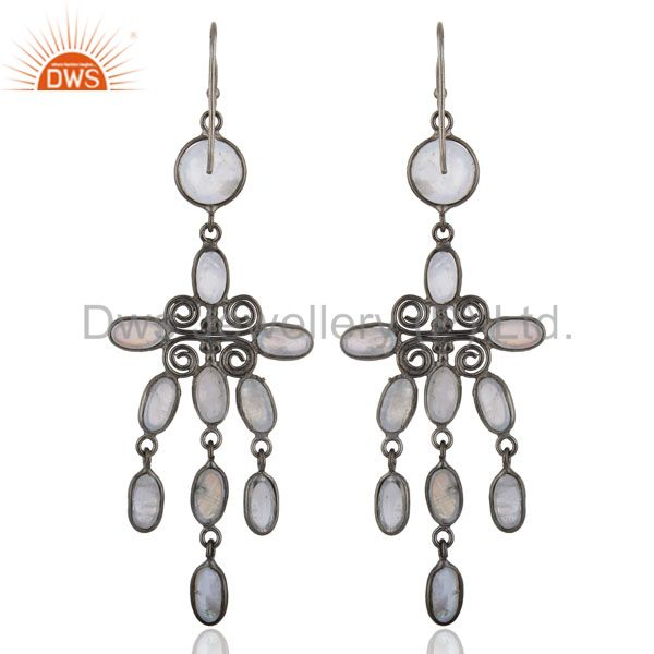 Wholesalers Chandelier Dangle Earrings Bezal Set Top Rainbow Moonstone Fashion Women Rhodium