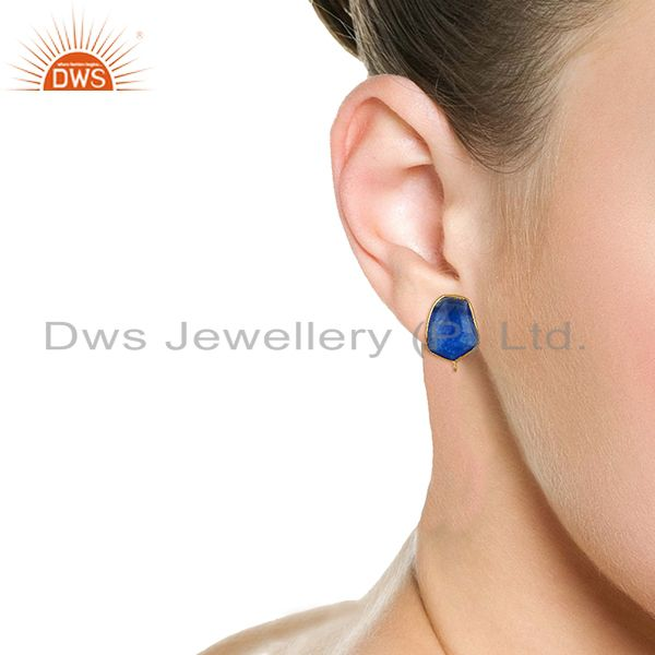 Wholesalers 18K Yellow Gold Plated  Blue Aventurine Stud Earring Connector Assesories