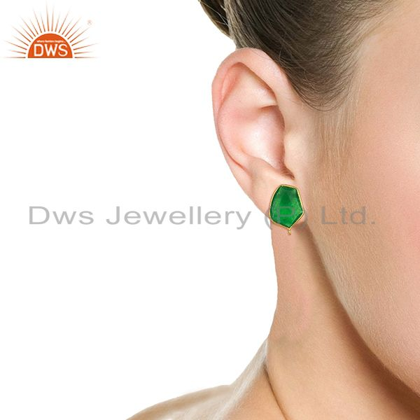 Wholesalers 18K Yellow Gold Plated Natural Green Aventurine Stud Earring Jewelry Assesories