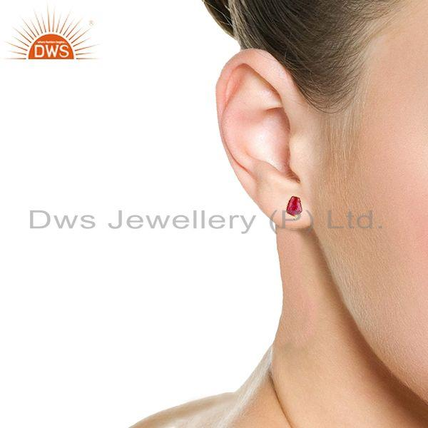 Wholesalers 92.5 Silver Yellow Gold Plated Red Aventurine Gemstone Stud Earring Findings