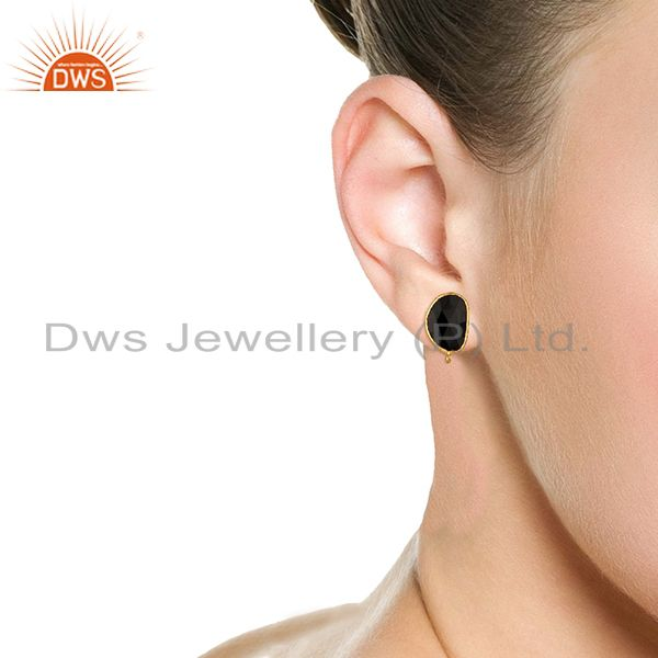 Wholesalers 18K Yellow Gold Plated Black Onyx Stud Earring Jewelry Assesories Findings