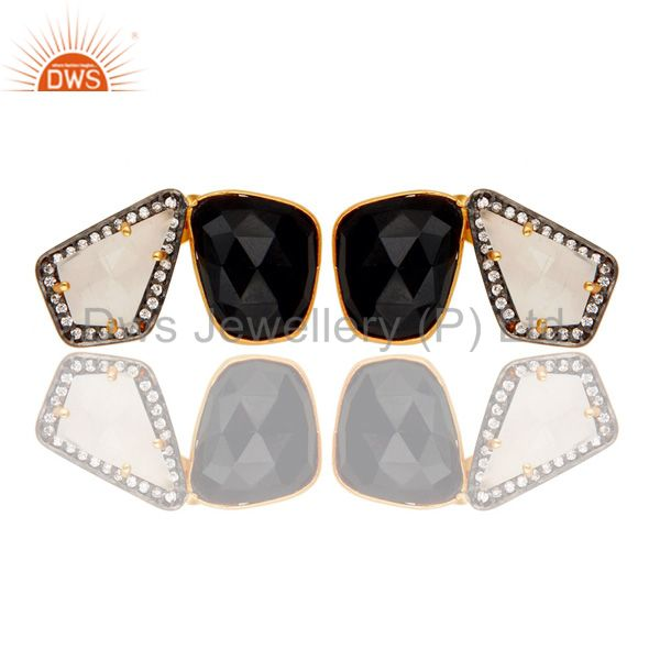 Wholesalers Moonstone Black Onyx and White CZ 18K Gold Plated Stud Earring Jewellery