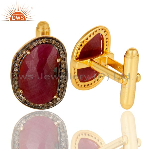 Wholesalers 14K Solid Yellow Gold Pave Set Diamond And Ruby Gemstone Mens Cufflinks
