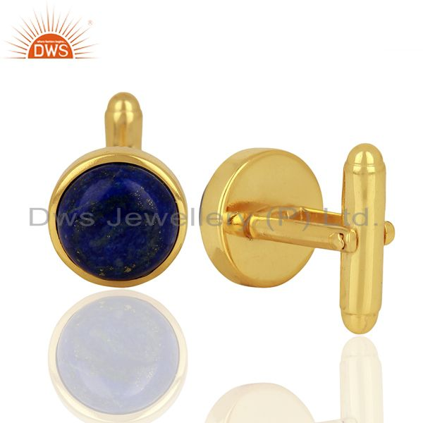Wholesalers Yellow Gold Plated  Lapis Gemstone Mens Cufflink Jewelry Manufacturer
