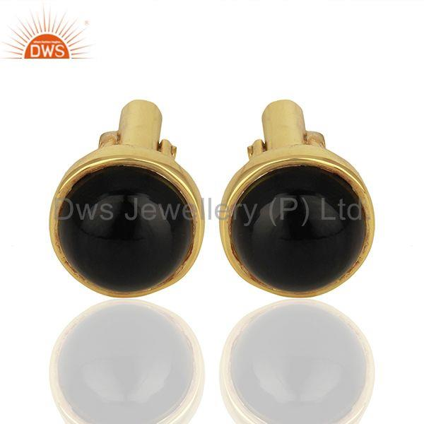 Wholesalers Gold Plated Black Onyx Gemstone Cufflinks jewelry Finding manufacturer