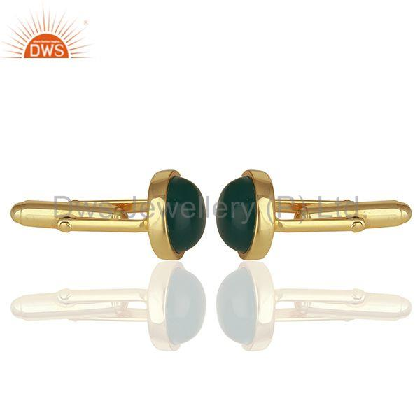 Wholesalers Handmade 925 Silver Green Onyx Gemstone Cufflink Jewelry Findings