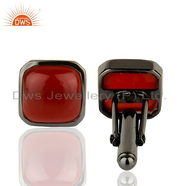 Wholesalers Rhodium Plated Carnelian Gemstone Silver Cufflink Manufacturer Jewelry