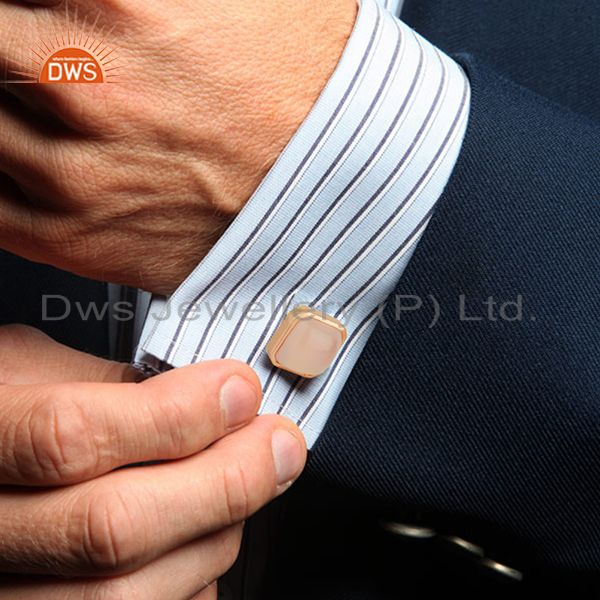 Wholesalers Rose Gold Plated Sterling Silver Mens Cufflink Jewelry Manufacturer