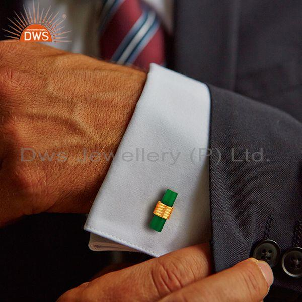 Wholesalers Natural Green Onyx Gemstone Gold Plated Silver Mens Cufflink Supplier