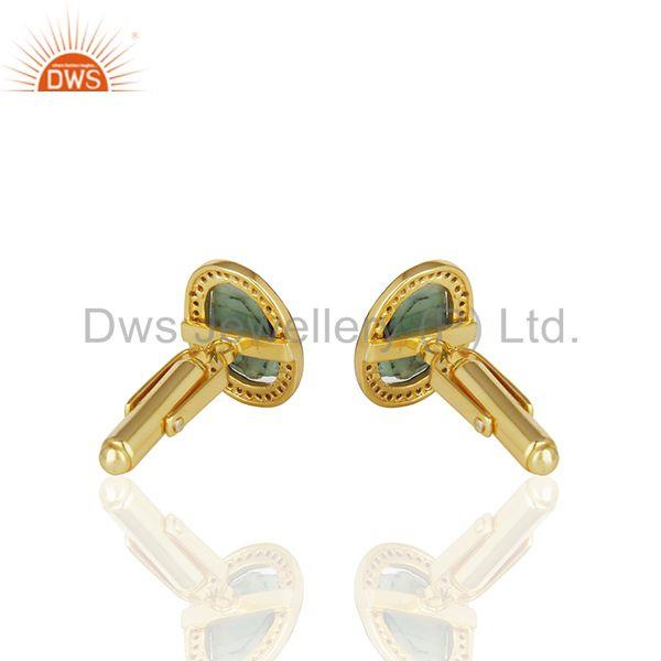 Wholesalers Natural Diamond and Emerald Birthstone Gold Plated Silver Mens Cufflinks