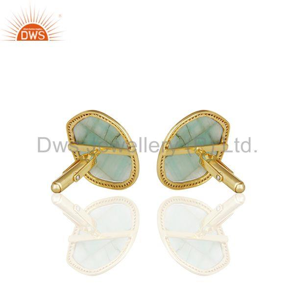 Wholesalers Handmade 925 Silver Emerald and Pave Diamond Mens Cufflinks Jewelry Wholesale