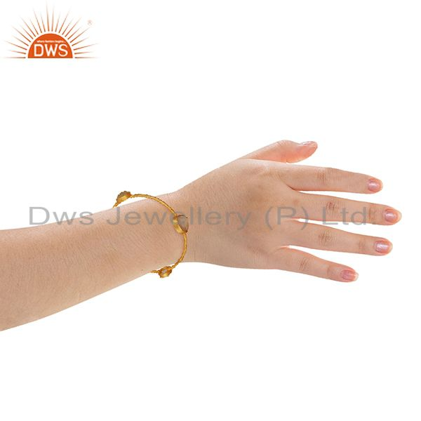 Rose chalcedony gemstone gold plated fashion bangle manufacturers Exporter