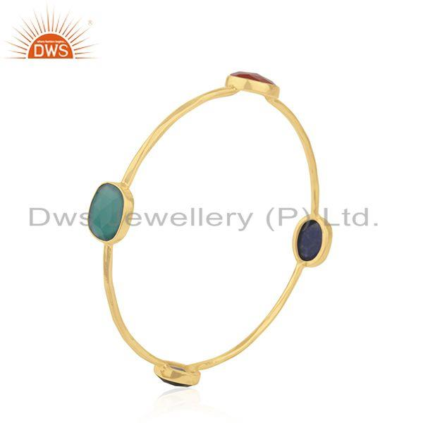 Natural gemstone gold plated silver bangle jewelry supplier Exporter