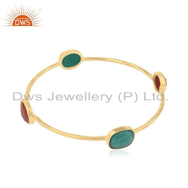Red and green onyx gemstone 925 silver bangle jewelry Exporter