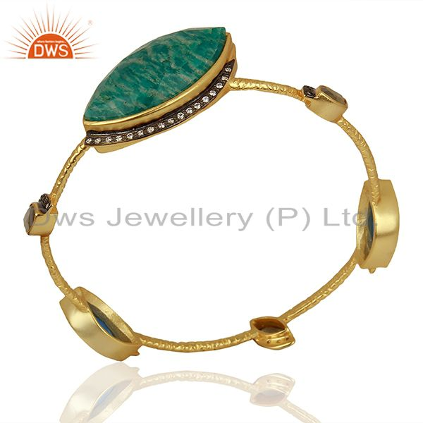Amazonite gemstone gold over womens brass bangle jewelry supplier Exporter