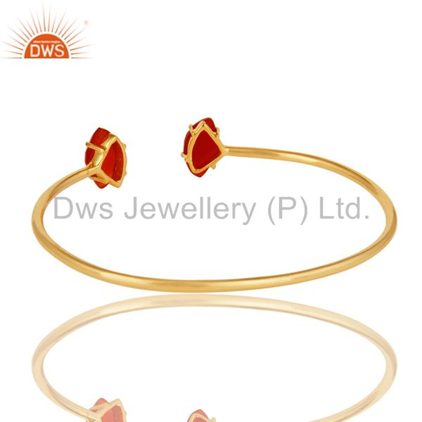 Wholesalers 18K Yellow Gold Plated Prong Set Red Onyx Gemstone Adjustable Bangle
