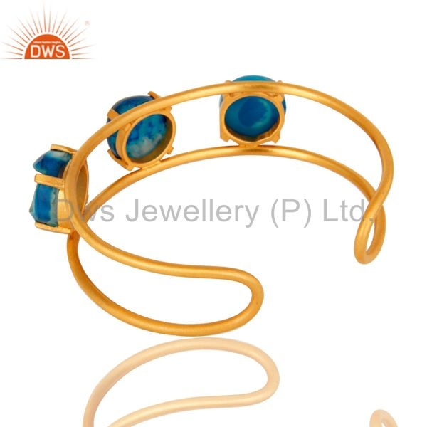 Wholesalers 18K Yellow Gold Plated Over Brass Blue Agate Druzy Cuff Bracelet Bangle Jewelry