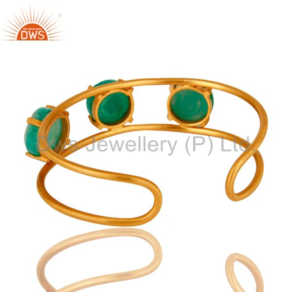 Wholesalers 18K Yellow Gold Plated Over Brass Green Druzy Agate Cuff Bracelet / Bangle