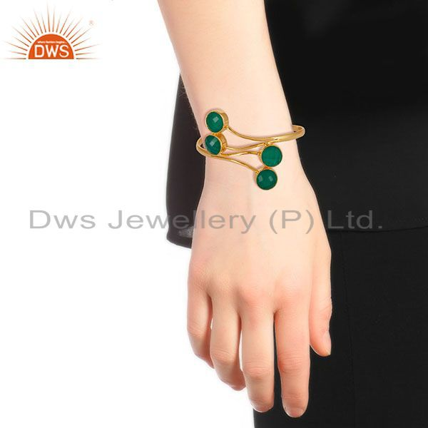 Wholesalers 14K Gold Plated 925 Sterling Silver Handmade Green Onyx Wide Cuff Jewelry