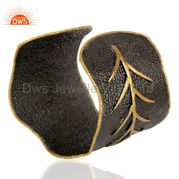 Wholesalers Traditional Handmade Leaf Design 14K Gold Plated Textured Fashion Cuff Bangle