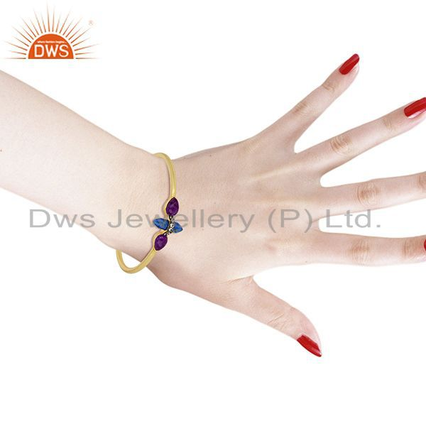 Lapis and cz gemstone gold plated fashion cuff bangle supplier Exporter