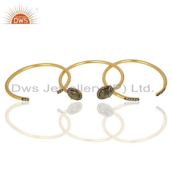 Wholesalers Handmade Gold Plated Labradorite Gemstone CZ Fashion Bangle Jewelry