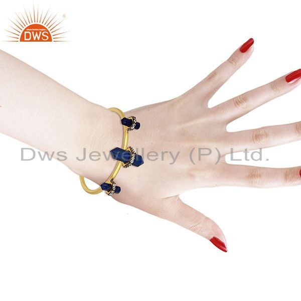 Natural lapis gemstone gold plated fashion cuff bangle manufacturer Exporter