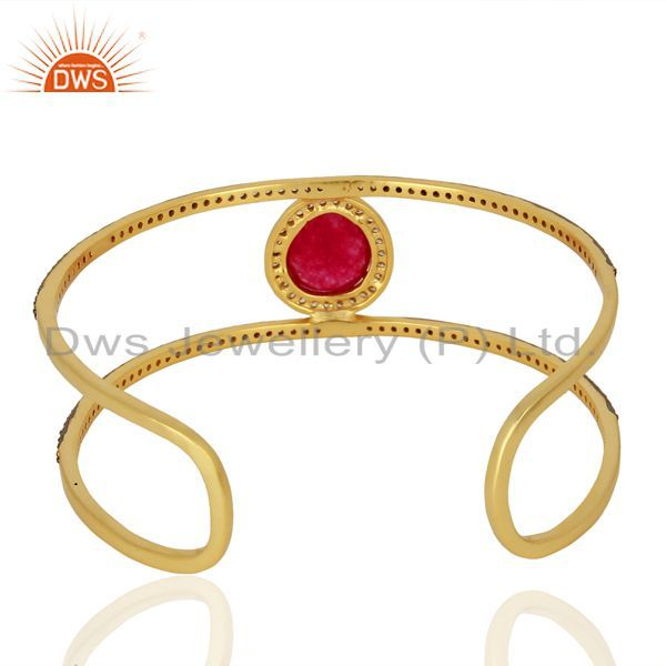 Wholesalers Handmade Gold Plated Fashion Gemstone Cuff Bracelet Supplier Jewelry