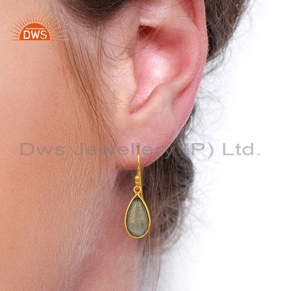 Wholesalers Labradorite Gemstone Gold Plated Designer Silver Earrings Jewelry