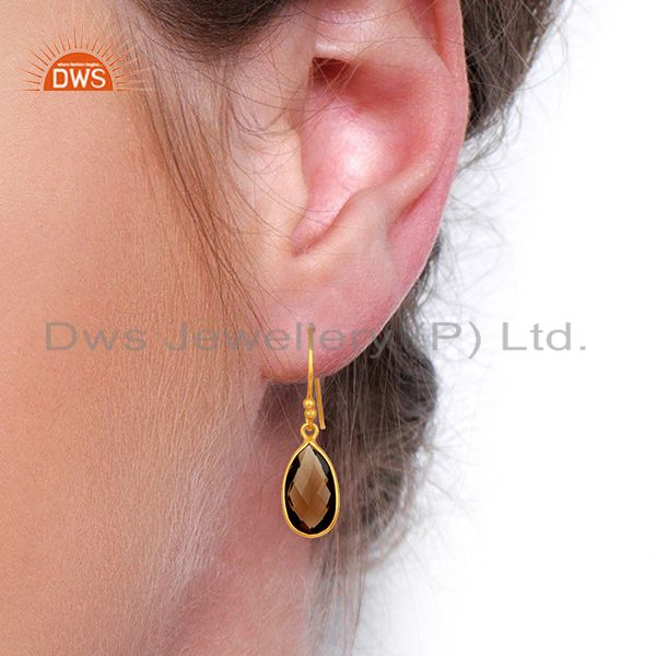 Wholesalers Indian Gold Plated Silver Smoky Quartz Gemstone Earrings Jewelry