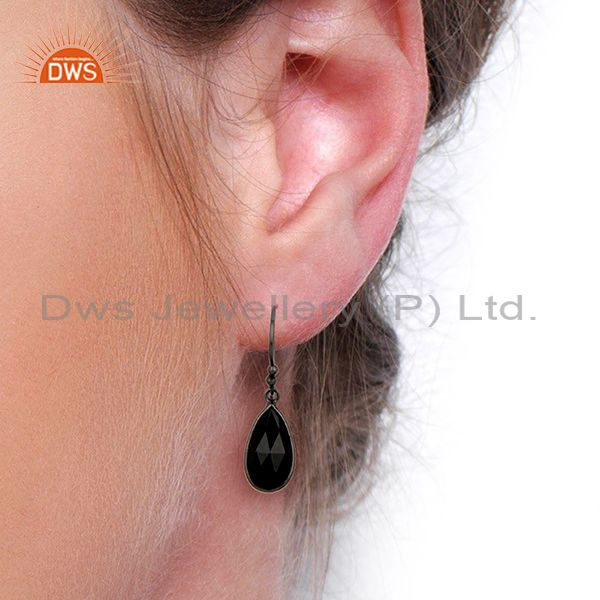 Wholesalers Natural Black Onyx Gemstone Black Rhodium Plated Earring Manufacturer