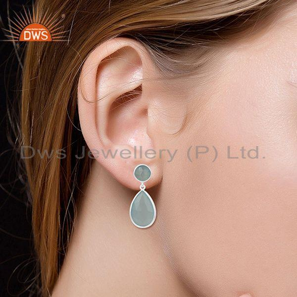 Wholesalers Aqua Chalcedony Gemstone 925 Sterling Silver Simple Earring Manufacturer Jewelry