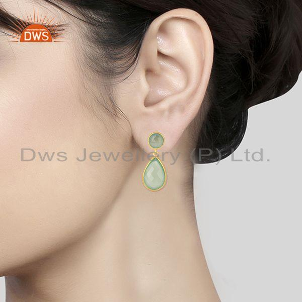 Wholesalers Green Chalcedony Gemstone 925 Sterling Silver With Gold Plated Drop Earrings